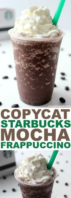 CopyCat Starbucks Mocha Frappuccino- Coffee and Chocolate blended to make a truely awesome cold beverage! Does it get any better than this? Save $$'s and make your favorites at home!