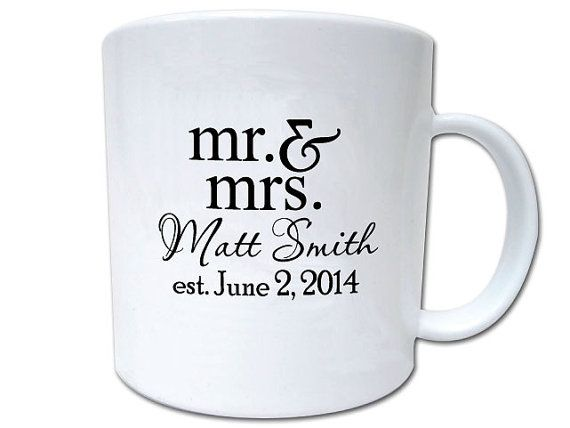 I'm loving Etsy Dasha! We could do 100 mugs and 100 Wine Glasses and then a coaster and be done! 100 Wedding Favor Custom Personalized Mugs by Factory21 on Etsy, $198.00