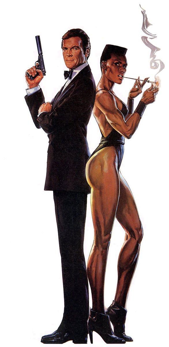 Poster art for A View to a Kill (1985) starring Roger Moore as 'James Bond' & Grace Jones as 'May Day'