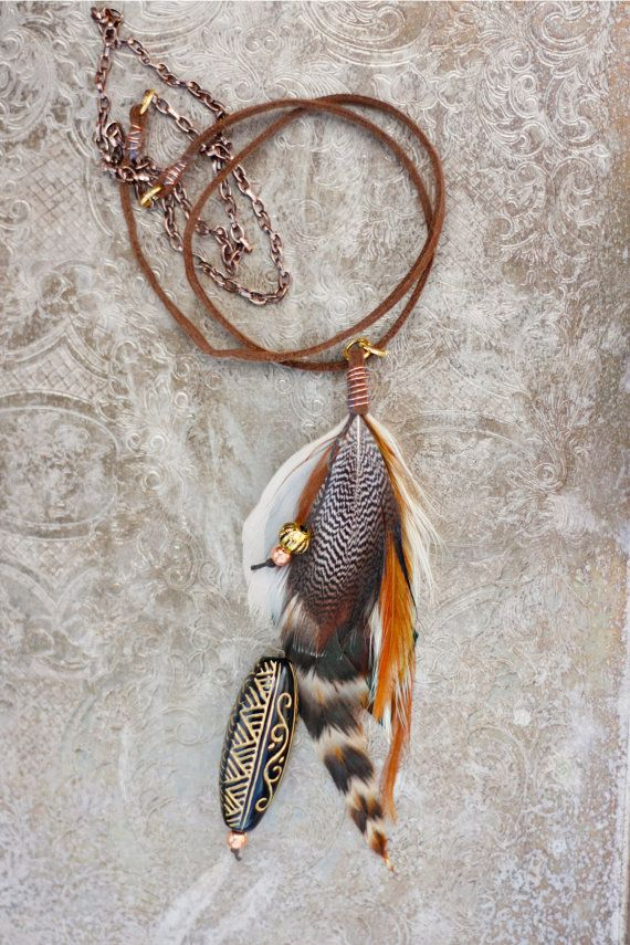 Feather Necklace beautiful real bird feathers by kelseysfeathers