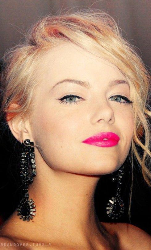 #Emma Stone #hotpink #lips