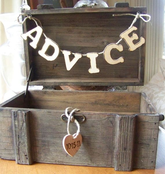 cute idea!Wedding Advice, Advice Boxes, Cute Ideas, Cards Boxes, Bridal Shower, Guestbook, Marriage Advice, Guest Book, Rustic Wedding
