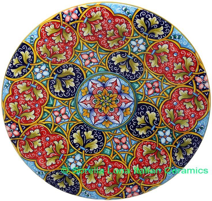 Ceramic Majolica Plate G12 GEO Red Blue Teal 739 30cm - See more at: http://italian-ceramics-art.com/elegant-dishes-gifts/Ceramic-Majolica-Plate-G12-GEO-Red-Blue-Teal-739-30cm.html#sthash.FhULOGMR.dpuf