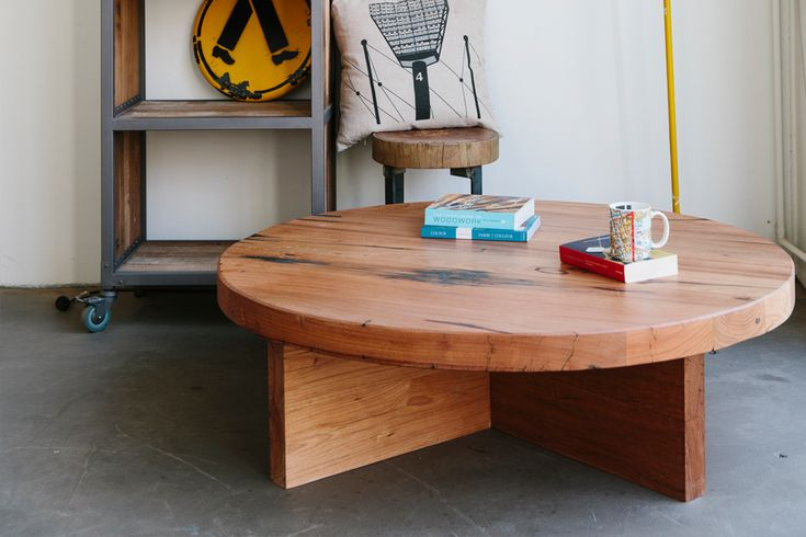 Low lying round coffee table, made from a selection of recycled mixed Australian hardwoods.