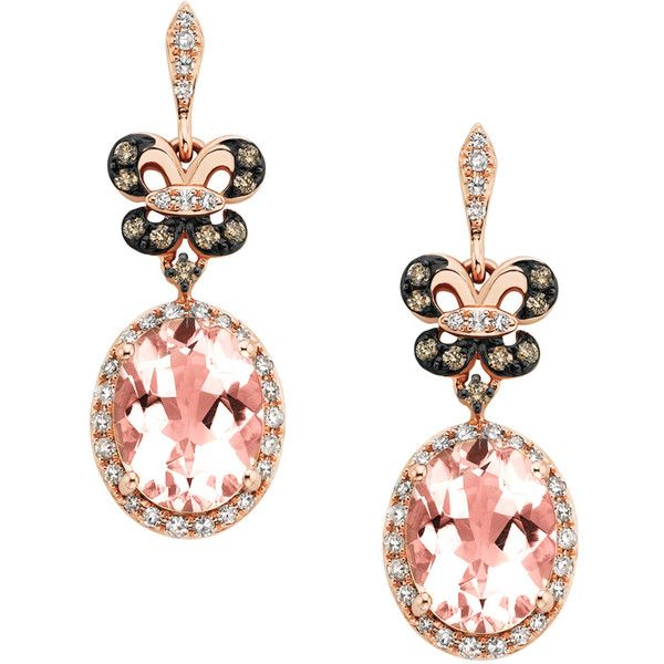EFFY Morganite and 1/2 ct. tw. White and cocoa diamond Dangle Earrings... (£1,125) ❤ liked on Polyvore featuring jewelry, earrings, accessories, pink, 14 karat gold earrings, long earrings, long diamond earrings, rose gold earrings and round diamond earrings