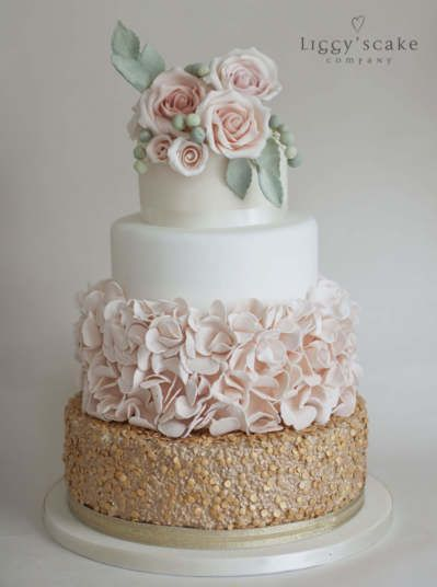 Gold Sequin and Peach Petal Cake | Wedding Cakes