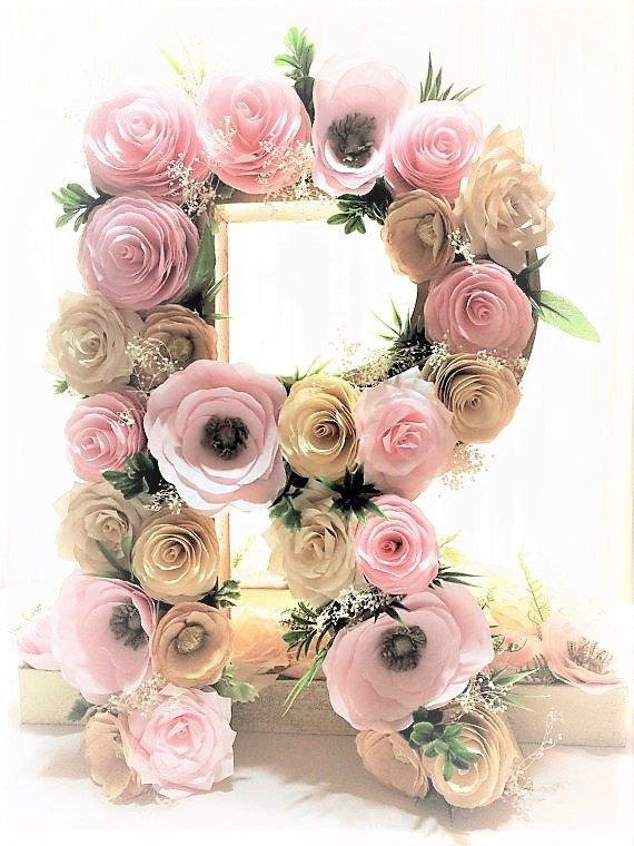 Paper mache letter - paper mache number - floral letters - flower letters - flower number - floral nursery decor - floral initial decoration by CENTERTWINE on Etsy https://www.etsy.com/listing/477440355/paper-mache-letter-paper-mache-number