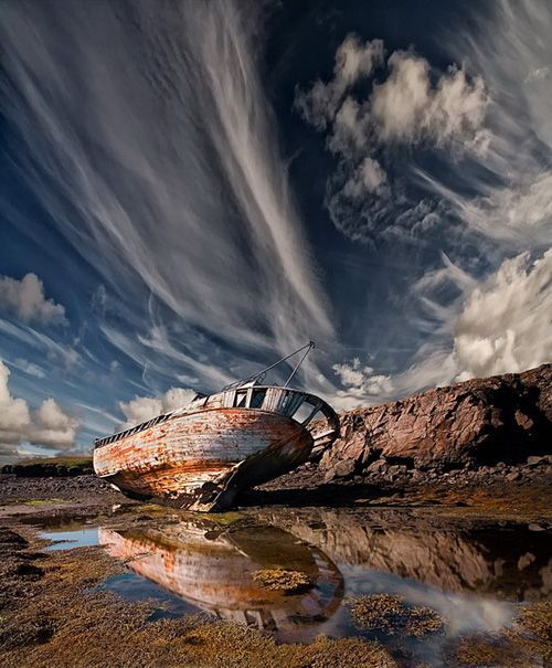 Stunning, old boat, cloudy, clouds, beauty of Nature, water ponds, reflections, abandoned, weathered,