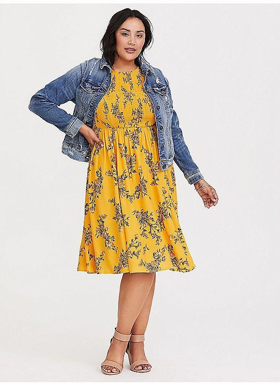 b31320262 TORRID : Yellow Floral Smocked Challis Dress. TORRID : Yellow Floral  Smocked Challis Dress Plus Size ...