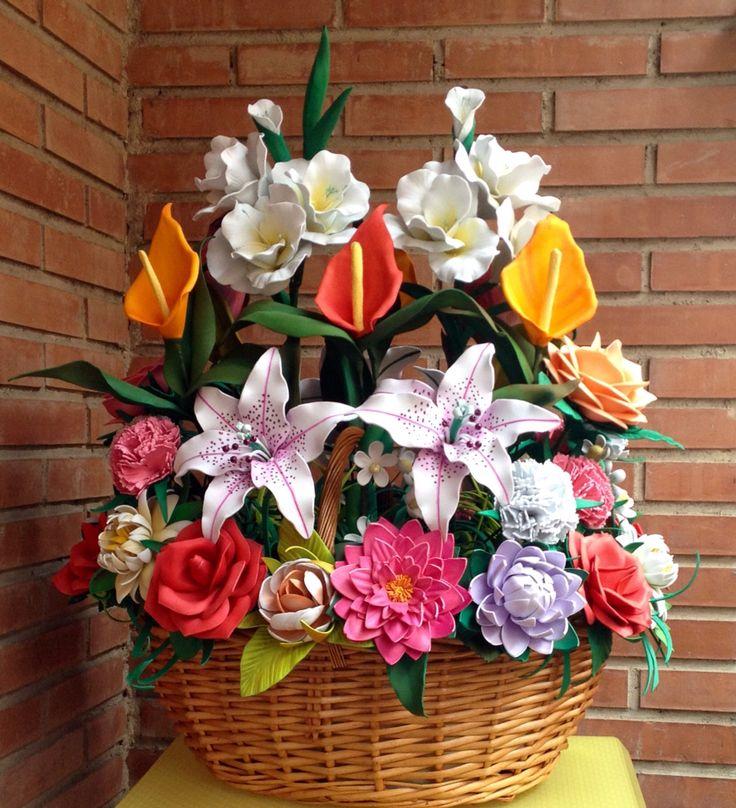 43 best images about flores en goma eva on pinterest gerbera - Flores de goma eva ...