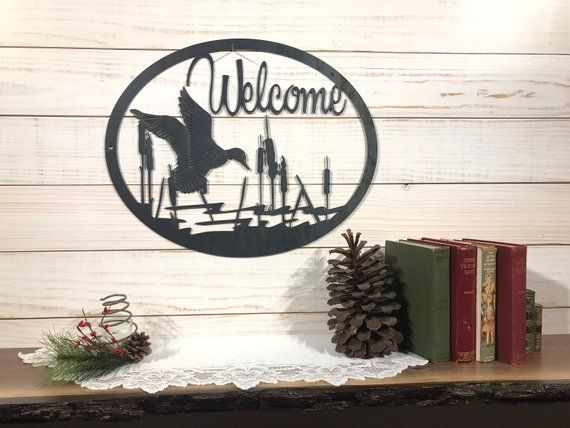 Large Metal Duck Welcome Sign 24 Inch Rustic Metal Decor Rustic Metal Decor Rustic Metal Metal Decor