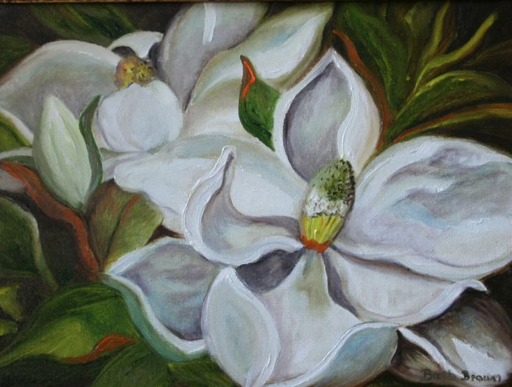 Magnolia Flowers 12 x 16 in. Original Oil  or canvas prints see others in my shop or go to www.barbbrownsart.com by BarbBrownsFineArt on Etsy
