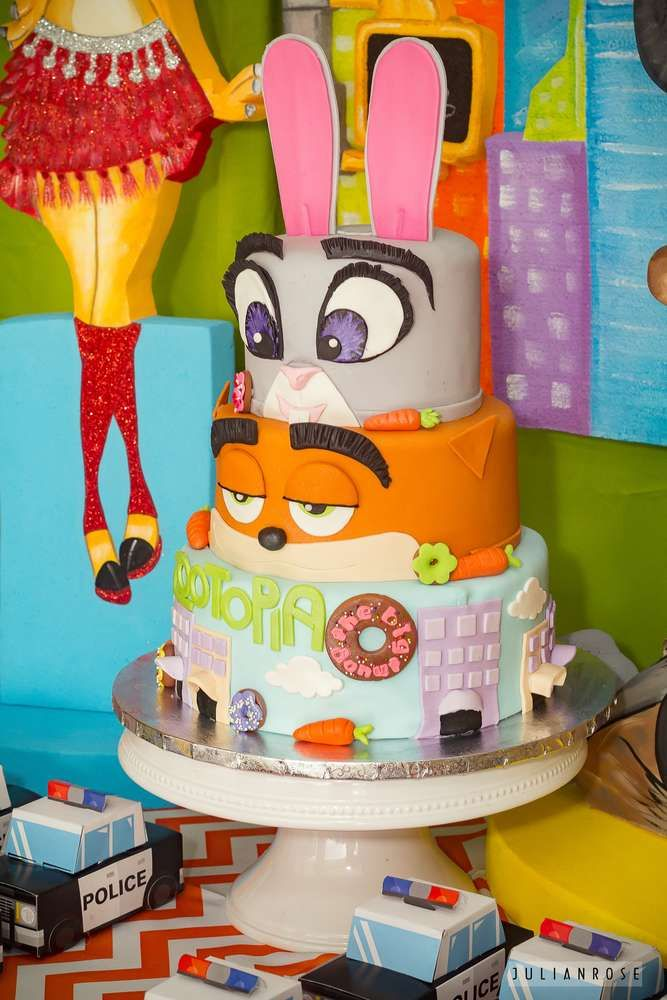 This Zootopia birthday cake is amazing! See more party ideas and share yours at CatchMyParty.com