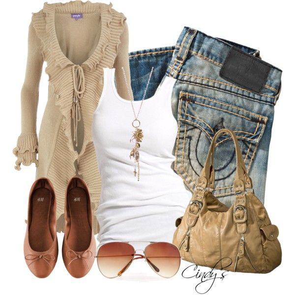 """Stone ruffle cardigan"" by cindycook10 on Polyvore"