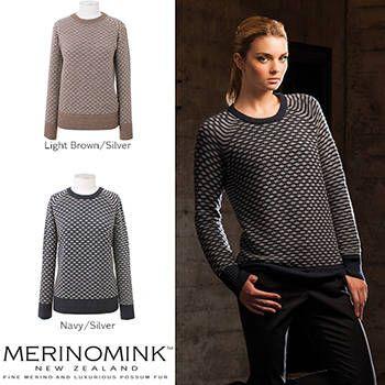 New Zealand Merinomink Womens Merino Wool 2 Tone Scoop Sweater