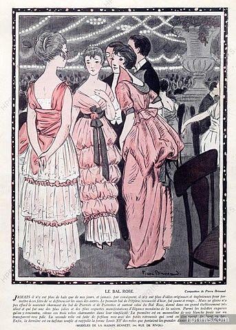 Pierre Brissaud 1914  The Pink Ball, Evening Gown, Dresses Bennett (Couture)