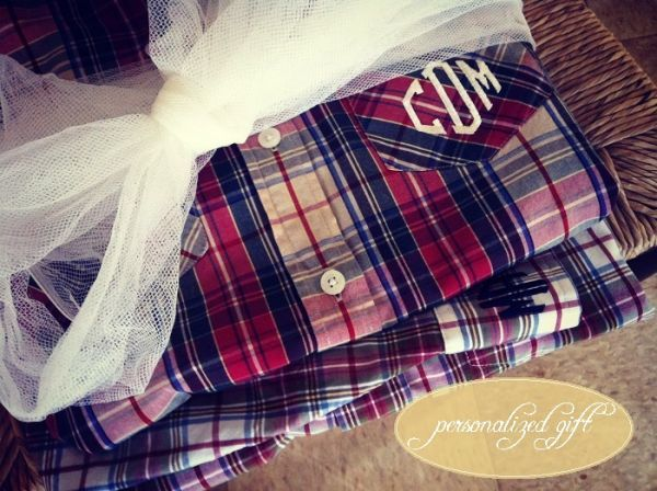monogrammed button up. perfect for the bride-to-be!