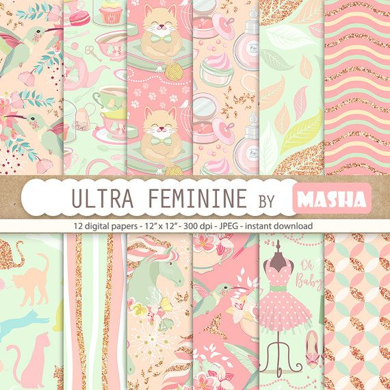 Girly digital papers: ULTRA FEMININE digital paper by MashaStudio #feminine #digital #paper #girly #pattern #pink #pastel #patterns #cat #horse #colibri #tea #party #mint #floral #romantic #makeup #vintage #retro #images