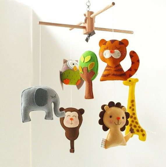 Musical Baby Mobile SAFARI QUEST ADVENTURES (Artist Choice Colors) - Wool Felt Heirloom Mobile for the Crib, Nursery, Kids Playroom Decor