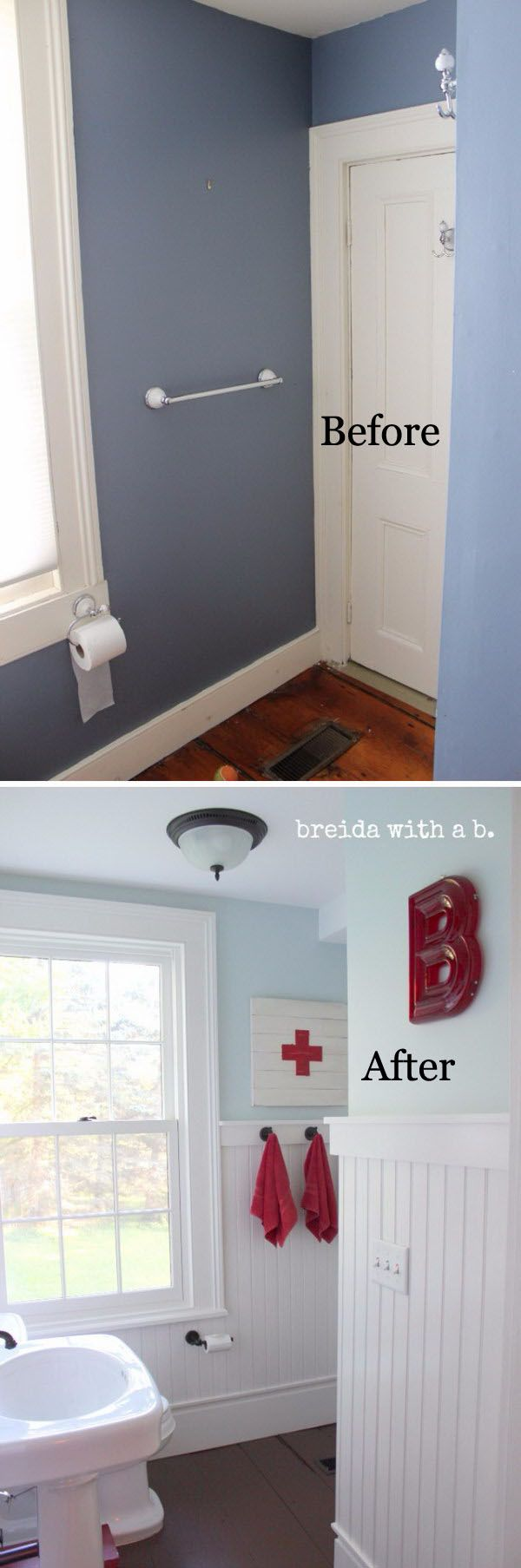 Bathroom Renovation. Looking for gorgeous faucets, vanities, sinks, Shower Heads & panels for your small bathroom see our selection at www.gorgeoustubs.com Bathroom, tiny bathroom, small bathroom, before and after.