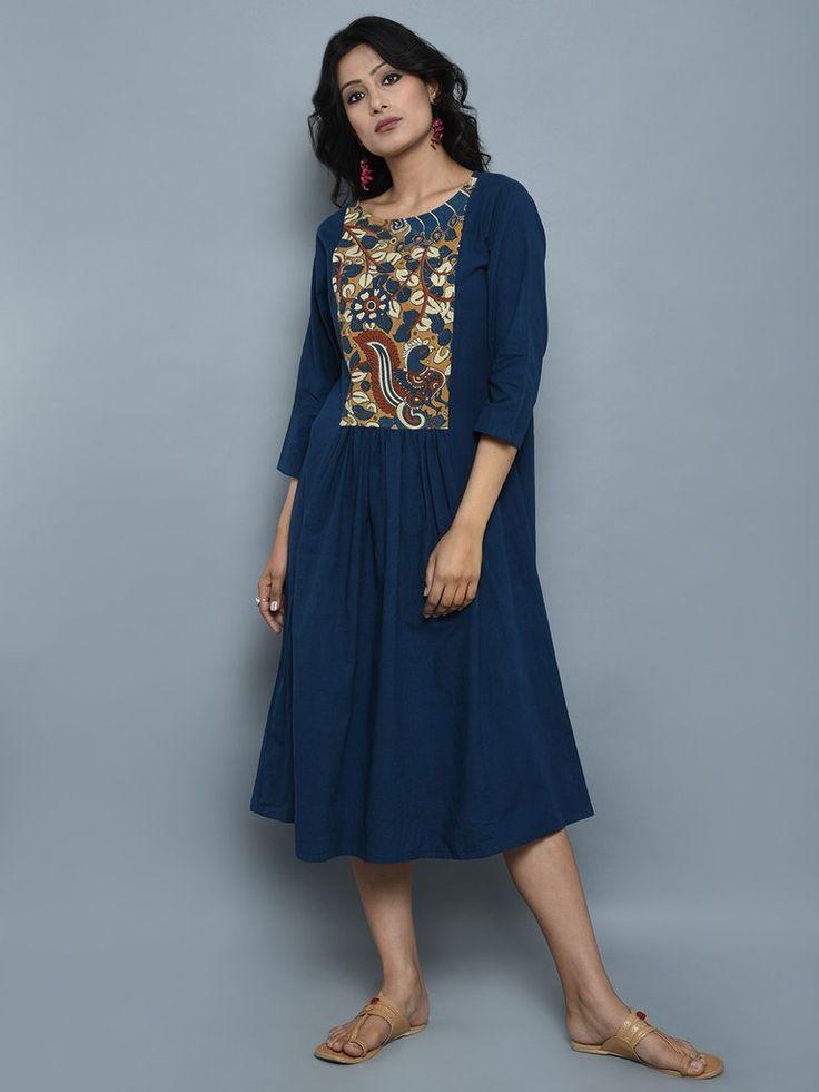 Indigo Cotton A Line Kalamkari Dress