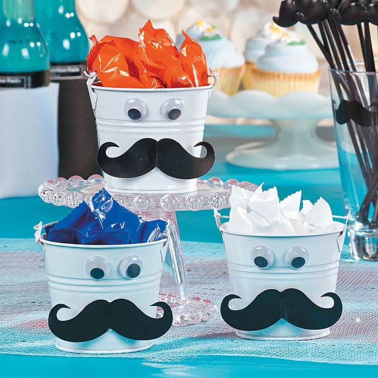 Mustache Favor Tins - OrientalTrading.com idea for centerpieces