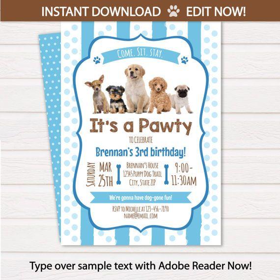 Puppy Invitations Puppy Birthday Party Invitations Puppy $7.99 #PuppyInvitations #PuppyBirthdayPartyInvitations #PuppyThemedPartyInvitations