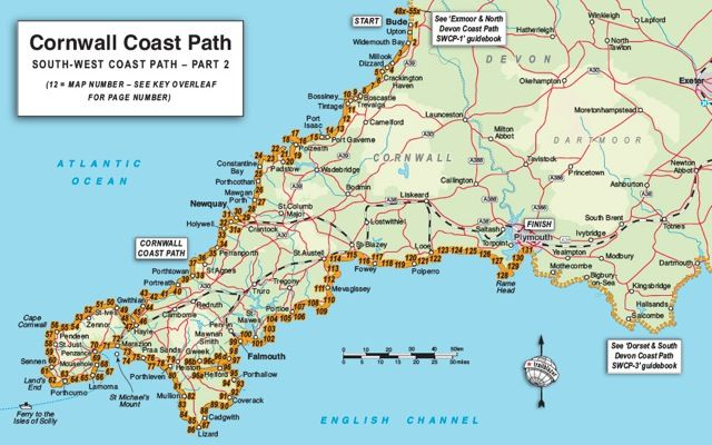 Detailed Map of Cornwall | Trailblazer Guide Books – Cornwall Coast Path (South-West Coast Path ...