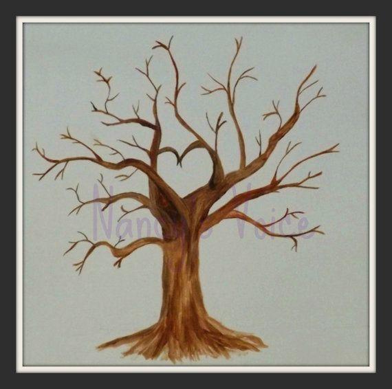 Handgemalt Hochzeit Gast Daumen drucken Baum von NancysVoice
