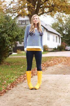 Hunter boots short yellow dress
