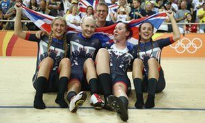 Laura Trott, Joanna Rowsell-Shand, Katie Archibald and Elinor Barker celebrate…