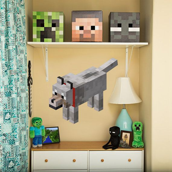 clouds and sun minecraft inspired decals decor boys by minerscave - Kids Bedroom On Minecraft