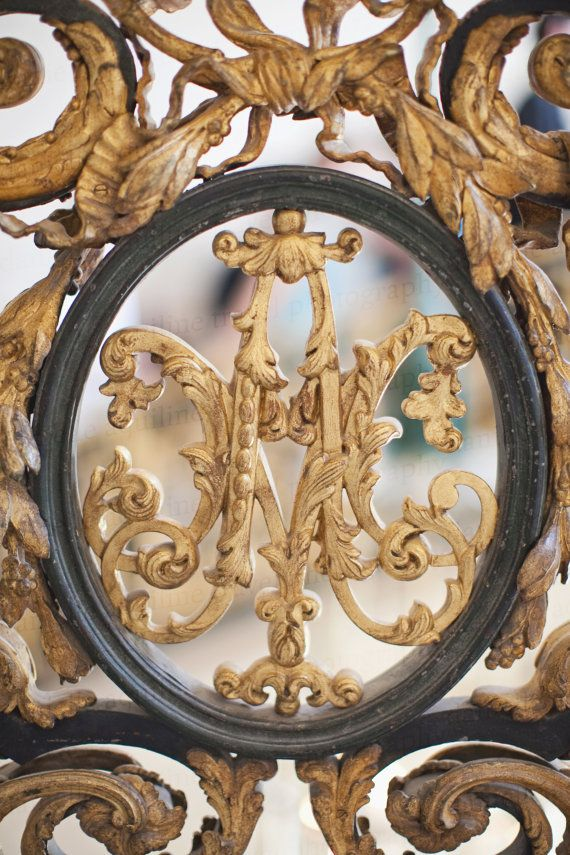 This photo was taken in Marie Antoinettes personal palace at Versailles. Its the crest on her staircase.  Size: 8x10  About this print: This is