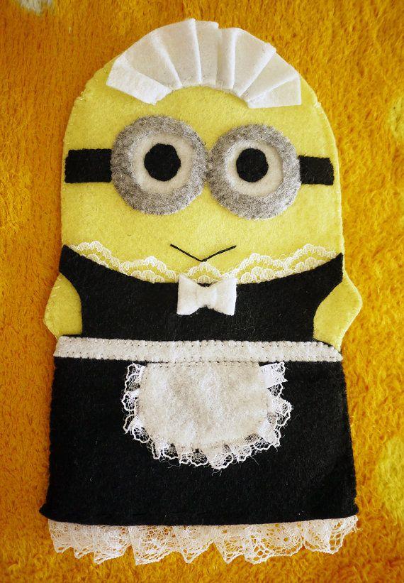 Handmade Felt French Maid Minions PHIL Iphone by MelodyInSunshine