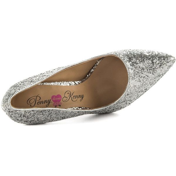 Penny Loves Kenny Women's Opus Glitter - Silver ($55) ❤ liked on Polyvore featuring shoes, pumps, silver pumps, pointy toe pumps, silver stiletto pumps, silver pointy toe pumps and stilettos shoes