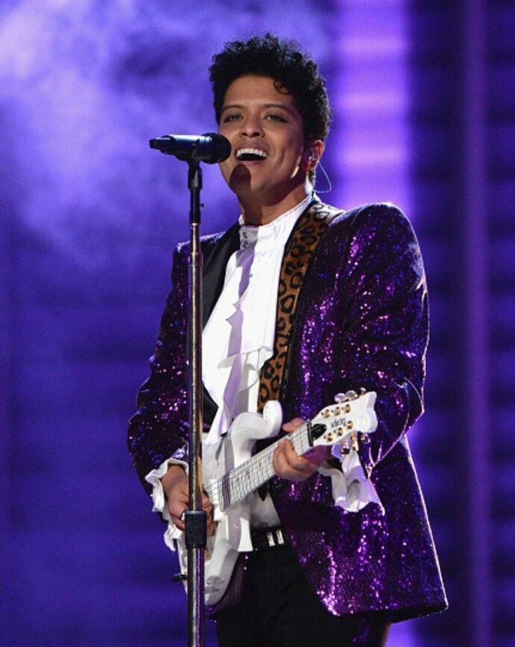 Bruno Mars paying tribute to Prince at the 2017 Grammys in Los Angeles, CA