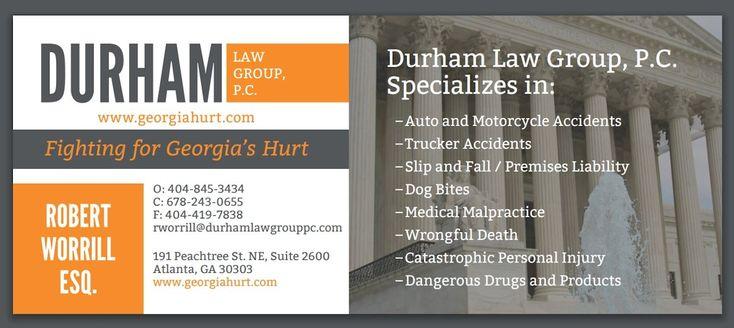 Durham Law Group PC es una firma personal de abogados de lesiones personales ubicada en Atlanta, Georgia. Nosotros nos especializamos en accidentes automovilísticos, accidentes de motocicleta, accidentes de camión con remolque, lesiones personales catastróficas y más. Abogado Roberto Worrill
