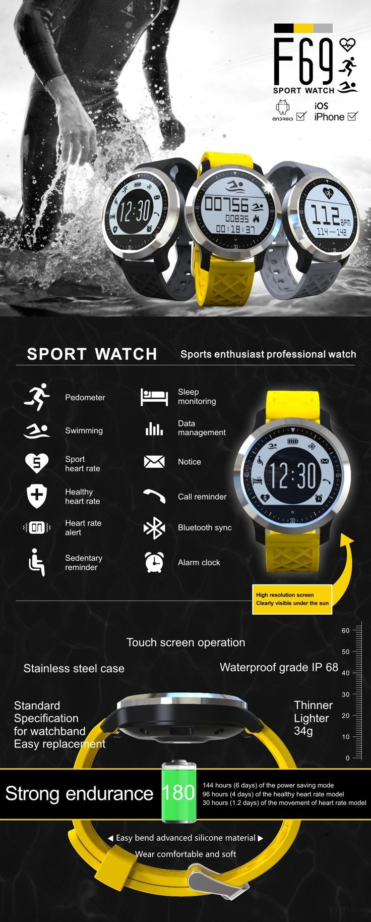 F69 Sprots Smart Watch IP68 Fitness Tracker Bracelet Heart Rate Monitor Swimming Wristband for IOS Android Phone