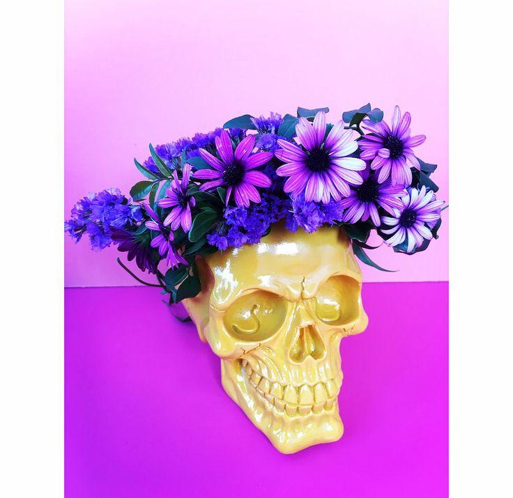 Flower crown skull by Bettie Bee Blooms. Purple statice, purple Daisy.