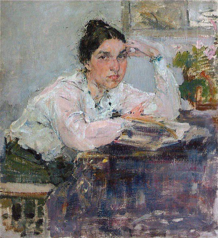 Portrait N.M.Sapozhnikovoy, Study, 1915 - Nicolai Fechin (Russian/American, 1881-1955) Impressionism