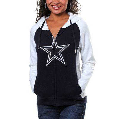 Dallas Cowboys Womens Tailgate Full Zip Fleece Hoodie - Navy Blue/White