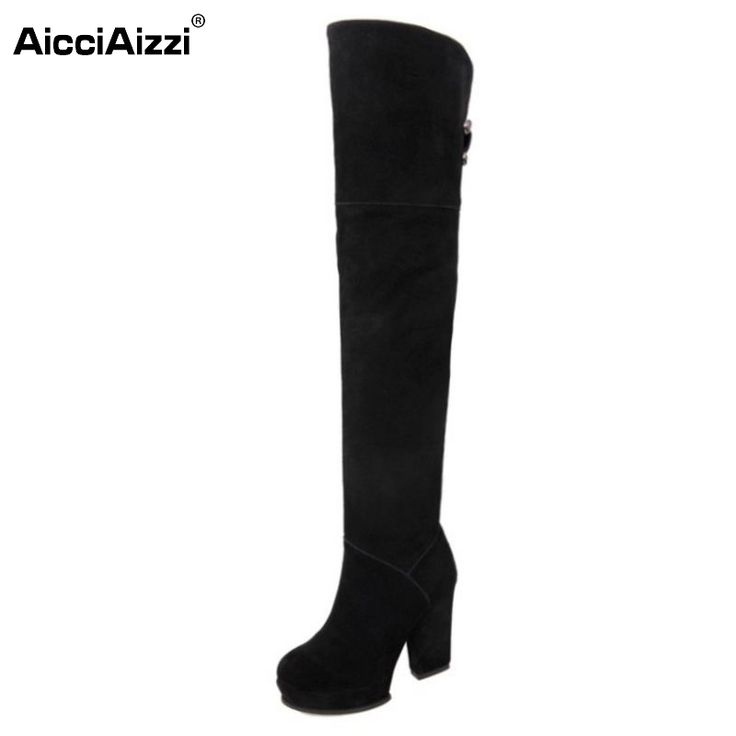 58.68$  Watch now - Women Platform Over Knee Boots Woman Fashion Thick High Heel Botines Mujer Winter Zipper Heeled Footwear Shoes Size 34-39  #shopstyle