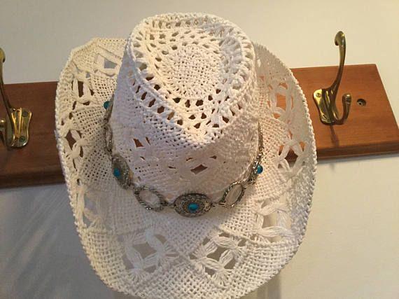 Aussie Aqua Jewelled crochet cowgirl hat  boho gypsy silver