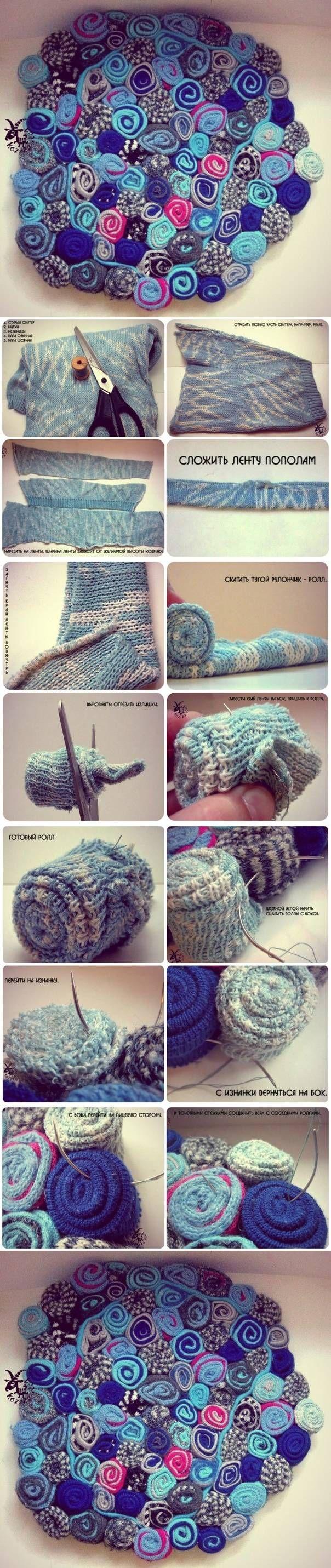 Los Proyectos de bricolaje suéter viejo Alfombra bricolaje | UsefulDIY.com