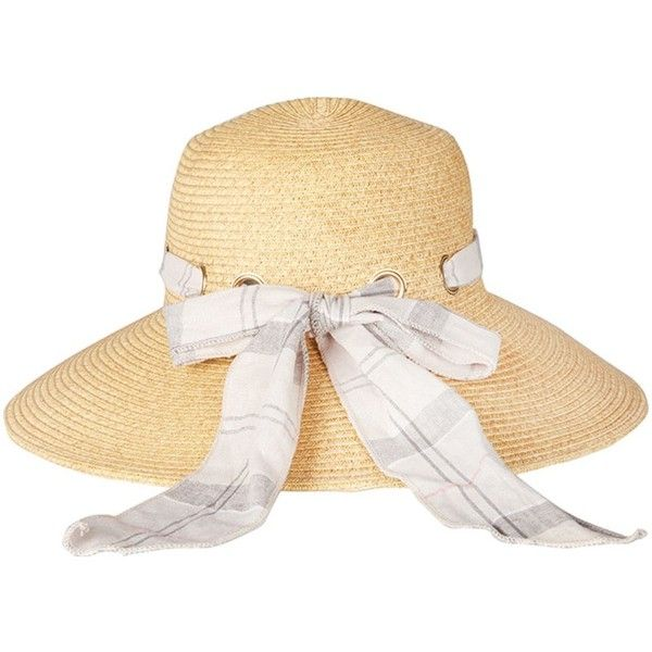 Women's Barbour Summer Tartan Straw Hat - Natural ($58) ❤ liked on Polyvore featuring accessories, hats, wide brim straw hat, straw beach hat, straw sunhat, plaid hat and wide brim hat