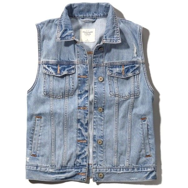 Abercrombie & Fitch Classic Denim Vest ($35) ❤ liked on Polyvore featuring outerwear, vests, jackets, denim vest, blue vest, pocket vest, blue denim vest and vest waistcoat
