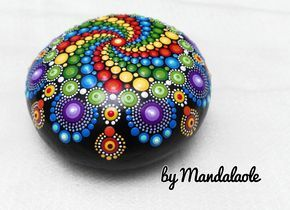 Jewel drop whirlpool Hand Painted Mandala Stone- Big Mandala- Hand painted mandala rocks/ Mandala beach rock dot art hand painted- Love gift by Mandalaole on Etsy