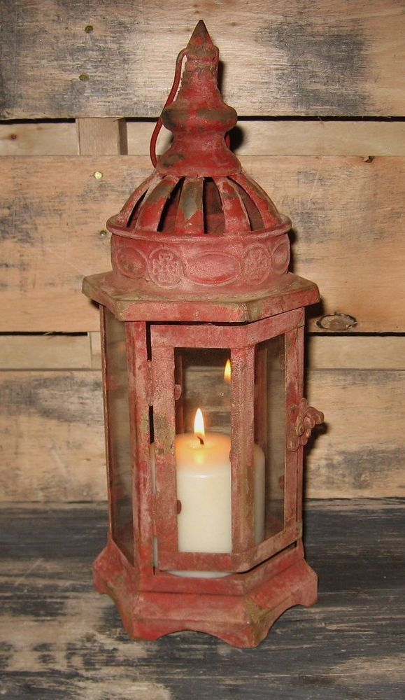 Farmhouse Red Metal Lantern Candle Holder Primitive French Country Style Decor Antique Arrangements Pinterest Lanterns Decorating And