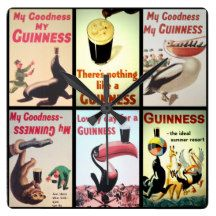 Large Square Vintage Guinness Wall Clock.  This clock is one of a new range of vintage advertising products available from Pics On Things.