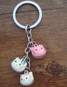 Lot Cute Cat Head Brass Jingle Bell Pendant Charms Keychain | eBay